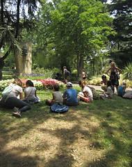 Van Gogh monument (AmyEAnderson) Tags: outdoor children schoolchildren enfants drawing project art vangogh bust monument park france arles bouchesdurhone provence grass shadows observing