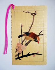 Chinese bookmark 2 (tengds) Tags: bookmark chinese chinesebookmark bamboo bird branches flowers yellow pink brown handmade papercraft tengds