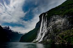 Geirangerfjord - Seven sisters (e-box 65) Tags: geirangerfjord waterfall fjord cruise norwegen norge norway geiranger hurtigruten berg mountain gebirge sea wasserfall siebenschwestern sevensisters worldheritage mreogromsdal himmel sky wolken clouds