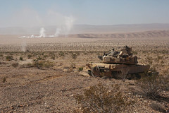Return Fire (pao3abct) Tags: 3rdarmoredbrigadecombatteam 3abct 4thinfantrydivision 4id 410cav 166armorregiment 168armor abrams tank bradley ntc national training center fortirwin nationaltrainingcenter army fortcarson