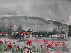 watercolor (P. Rad) Tags: watercolor poppiesfield