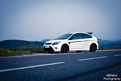White Ford Focus RS Stage 1 (WillVision Photography) Tags: auto road light sunset red white mountain black ford car night fire p
