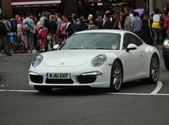 Porsche 911 Carrera S (kenjonbro) Tags: uk england white london westminster 911 trafalgarsquare s porsche charingcross carrera sw1 991 h6 2011 38l kenjonbro fujihs10 worldpride2012 wj61ekf