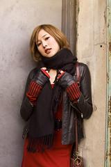 Mio (samvelasquez) Tags: street door nyc red portrait beauty fashion wall brooklyn pose asian japanese glamour friend dress mio edgy samvelasquez