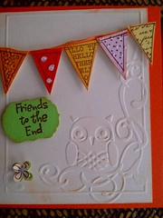Friends to the End (Scrap Fusión, Fabrica de Ideas) Tags: friends party flores amigos flower art argentina colors cards amigo arte handmade artesanal card mardelplata relieve tarjeta buho tarjetas lechuza puntos sizzix hechoamano festejo banderin puntitos manualidad festejar banderines novedoso rizarte maluciana26 artesanita