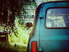 Left Behind (bOw_phOto) Tags: classic chevrolet vintage alley suburban olympus plastic chevy 75 puyallup omd 1250 em5 mzuiko camerabag2