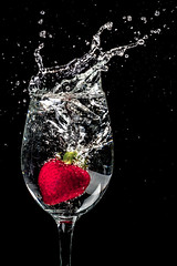 Cheers 2 You (Tc Morgan) Tags: macro water glass closeup studio strawberry berry creative experiment strawberries commons cheers wineglass splash liquid stopmotion macrophotography elinchrom macrolife tcmorgan