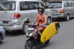 Surfin Girl 2 (Smith-Bob) Tags: ladies people bali woman girl bike lady indonesia surfer candid scooter motorbike surfboard seminyak