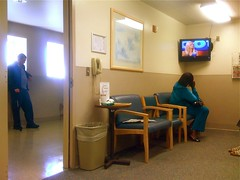 The Waiting Game (misterbigidea) Tags: television standing hospital private tv beige waiting meditate sitting phone room watching calming calm hallway medical health doctor seats thinking wait moment gameshow appointment diagnosis checkup examination quiettime timepasses onhold nuetral institiution
