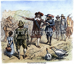 0077694 (Granger Historical Picture Archive) Tags: orange men girl dutch geese village child fort leg north governor american engraving albany handicap stuyvesant pieter colony settlement amputee settler tricorn colonist pegleg 1649 newnetherland
