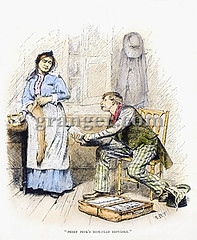 0086826 (Granger Historical Picture Archive) Tags: men kitchen america work shopping bottle chair interior 19thcentury luggage moustache apron domestic crime american engraving late worker vendor stocking seated housewife quack fraud medicinal salesman headdress itinerant patentmedicine