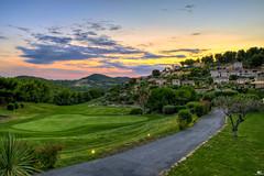Golf at Sunset (iPh4n70M) Tags: sunset sun france tree nature colors clouds alpes golf restaurant hotel soleil nikon couleurs south coucher rhône arbres cote provence nikkor nuages hdr bandol sud dazur 9xp d700 1424mm 9raw