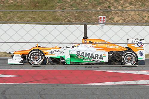 Paul Di Resta in his Force India in Winter Testing, Circuit de Catalunya, March 2012