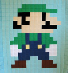 Luigi - complete (Cut To Pieces) Tags: game quilt nintendo mario fabric luigi solid goomba michaelmiller supermariobrothers quiltalong cottoncouture cuttopieces supermariobrosqal