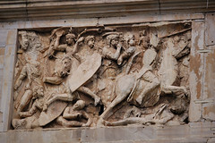 Rome - Arch of Constantine - Trajan panel. (edk7) Tags: bridge italy sculpture west rome roma building art architecture d50 ancient italia arch panel ruin engineering battle frieze structure constantine via relief di attic dedicated 315 arco remains trajan costantino lazio 2007 312 triumphal commemoration archofconstantine spolia milvian triumphalis edk7