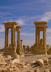 The Ancient Roman city of Palmyra, Syria (Eric Lafforgue) Tags: color colour monument vertical architecture outdoors photography sand ancient day roman middleeast unescoworldheritagesite unesco syria column ancientcivilization palmyra thepast palmira siria traditionalculture levant 442 syrien syrie sirja tadmor traveldestinations colorimage famousplace suriye   syri oldruin unescoworldheritagelist internationallandmark mediterraneanculture  sria szria builtstructure  syrianculture westernasia architectureandart   middleeasternculture  suriah sirija  cp  sora