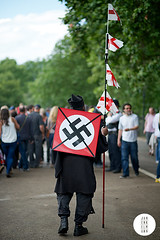 Speakers Corner (Jan Enkelmann) Tags: england man black london unitedkingdom flag swastika protest hydepark campaign speakerscorner viewfrombehind greaterlondon