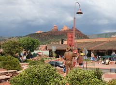 Sedona Main Street 2 (lynne_b) Tags: road street vacation arizona mountains west statue mainstreet sedona shops stores 2012 sedonamainstreet