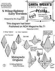 X-Wing Fighter origami diagram Easy version 1 (Matayado-titi) Tags: starwars origami fighter space diagram vehicle xwing spaceship starship starfighter sugamata matayado