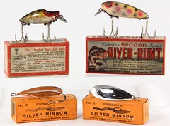 "3013. (2) Heddon ""River-Runts"" and (2) Silver Minnows"