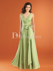 A-Line Sleeveless V-neck Floor-Length Bow(s) Long Bridesmaid Dresses