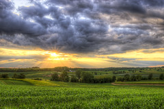Rural Hills - Sunset Wednesday (Painted Light Studio (hardpan photo)) Tags: sunset wednesday quarta rural clouds farm fields wisconsin pasture crop trees summer corn road barns sun glow rays hdr pentax k5 photomatix storm monroe greencounty nature landscape usa photograph photography image hardpancom marckohlbauer kohlbauer pentaxphotogallery pentaxphotogallerycom ppg 2012