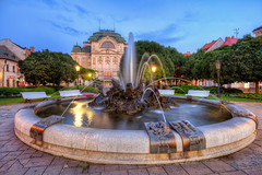 Another fountain in Kosice (Miroslav Petrasko (hdrshooter.com)) Tags: camera travel blue color water fountain digital canon lens effects photography eos lights photo blog high europe singing dynamic state image mark ii software hour processing multiple 5d imaging lamps dslr range hdr hdri miroslav exposures bracketing kosice thater divadlo 1635mm photomatix tonemapped photographyblog photoglog statne theodevil hdrshooter petrasko miroslavpetrasko hdrshooternet
