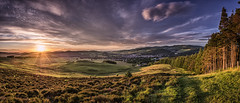 Sunset on Europe (Scotty Rae) Tags: sunset panorama dusk peebles scotland scottishborders tweeddale peeblesshire cademuir morninghill clouds altocumuluslenticularis forest trees hills town
