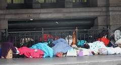 Hidden Bodies (mikecogh) Tags: melbourne cbd homeless footpath pavement blankets sleepingbags warm cosy bodies asleep hidden