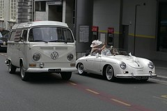 "VW Camper and Porsche Cabriolet - wedding ""cars"". Explored 25-07-16 (velton) Tags: volkswagen bus camper vw combi sixties seventies 60s 70s convertible german beatles beetle classic vintage cars oldtimer days inn wedding marraige hotel vee dub"