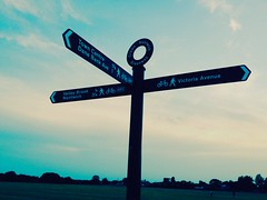 Triple signpost. (ryangreen10) Tags: england clouds sunset sky signpost sign cheshire crewe