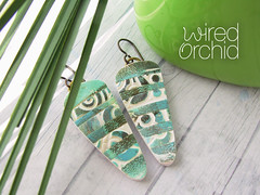 Teal Pottery Dagger Earrings 1 (WiredOrchid) Tags: layered dagger earrings polymer clay lightweight dangle teal aqua white