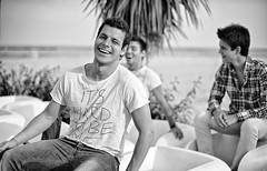 Beach Friendship (Steve Lundqvist) Tags: bw black white people young boys monochrome guys guy dude fashion cool beach friendship amici friends sea seaside adriatic mare italians italiani ragazzi sorriso smile smiling happy