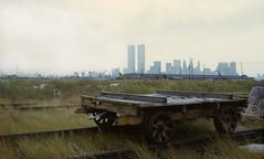 WTC 224 (stevensiegel260) Tags: worldtradecenter twintowers train railroad ruins abandoned newyorkskyline manhattanskyline newjersey libertystatepark 1980s 1970s