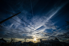 Day 249/366 : The impressive sky with jet contrail (hidesax) Tags: 249366 theimpressiveskywithjetcontrail sunset sky clouds jet contrail skyline silhouette wires ageo saitama japan hidesax sony a7ii voigtlander 10mm f56