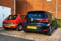 GTIs (Marc Sayce) Tags: vw volkswagen golf gti mk6 mk 6 vi black peugeot 205 19 1900 cc cherry red