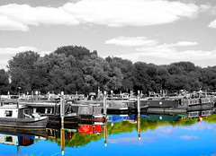 IMG_2477xx (Latent Memory) Tags: coloursplash barge canal sky colour refelction bnw