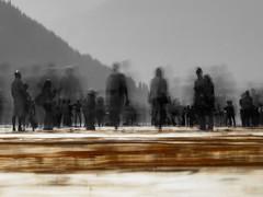 Shadows (Riccardo Palazzani - Italy) Tags: thefloatingpiers concorso sulzano shadows ponte bridge pier jellow people