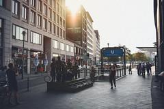 Friedrichstrae (Adrian-D.) Tags: berlin architektur architecture friedrichstrase sun sonne gegenlicht backlight ubahn metro subway sunset evening abend