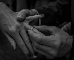 Joined in holy matrimony. (Ian Emerson (Looking forward to a Scotland trip)) Tags: wedding ring church hands blackwhite bride groom people friends canon 1855mm marriage matrimony vows