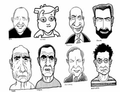 Mostly guys (Don Moyer) Tags: face faces ink drawing moleskine notebook moyer donmoyer brushpen grid