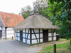 IMG_5303 (jaglazier) Tags: 18thcentury 18thcenturyad 2016 91416 architecture barns bauernmuseum bielefeld buildingmuseums buildings cloth copyright2016jamesaglazier deciduoustrees farmhouses farmmuseum germany houses mills museums september teutoburg teutoburgforest teutoburgerwald thatch trees woodenbuildings clouds flax halftimbered linen retting technology thatched timber nordrheinwestfalen