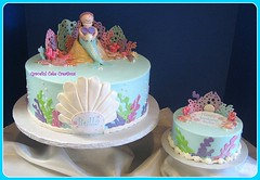 Mermaid Birthday Cake with small Smash Cake (Graceful Cake Creations) Tags: ocean birthday blue shells beach cake kids seashells 3d smash aqua starfish designer cream bubbles pearls celebration butter precious childrens elegant mermaid custom whimsical littlemermaid 2012 tiffanyblue poolparty buttercream underthesea 1stbirthdaycake smashcake 3dcake gracefulcakecreations