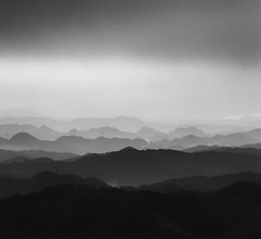 morning mountain layers (StephenCairns) Tags: morning blackandwhite bw mountains japan smoke  layers  gifu hydrolines  motosu    againagainandagain stephencairns  samespotsamemountainssametimedifferentday