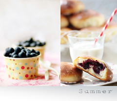 flavor... (..Ania.) Tags: summer dessert diptych sweet stripes homemade dots blueberries blueberryrolls 112pictures35spotsordots