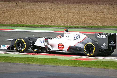 Kamui Kobayashi in his Sauber at Silverstone