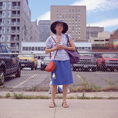 (patrickjoust) Tags: street city blue red portrait people urban woman usa color 120 6x6 tlr film hat analog america standing square lens person us reflex md focus downtown fuji mechanical farmers market united parking north lot patrick twin maryland slide baltimore sidewalk mat 124 chrome purse medium format states manual expired 80 joust fujichrome e6 yashica 220 estados astia 80mm 100f f35 reversal unidos yashinon autaut patrickjoust
