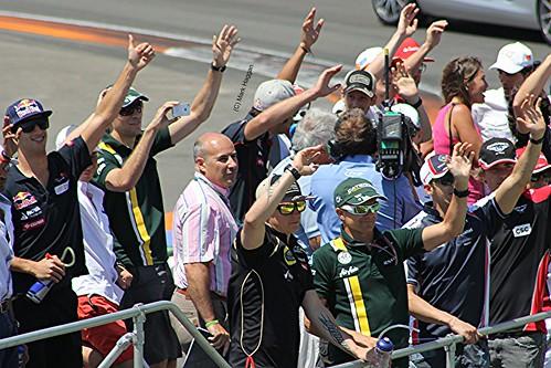 Kimi Raikkonen and Heikki Kovalainen in the Drivers' Parade before the 2012 European Grand Prix in Valencia