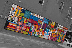 Mural (JoeCarla) Tags: street blackandwhite bw delete9 delete5 delete2 deleted7 illinois mural downtown delete6 streetphotography delete8 delete3 delete delete4 uptown normal isu selectivecolorization normalillinois assignment52302012