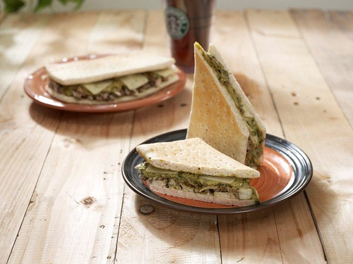Roasted Chicken Pesto and Shiitake Mushroom on Flat Bread